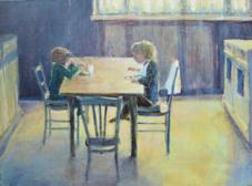 7.2014, Aan de keukentafel, 60x80, doek.2