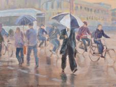 7.2014, Fietsers in de regen, 60x80, doek.2