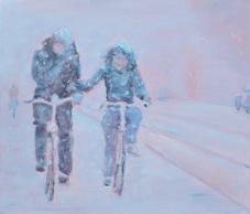 7.2014, Fietsers in de sneeuw, 60x70, doek.2